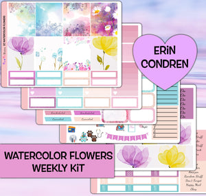 Watercolor Flowers Planner Stickers | Erin Condren | Weekly Kit
