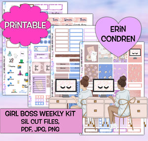 Girl Boss Planner Stickers | Erin Condren | Weekly Kit | Printable
