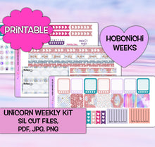 Load image into Gallery viewer, Unicorn Planner Stickers | Hobonichi Weeks | Weekly Kit | Printable