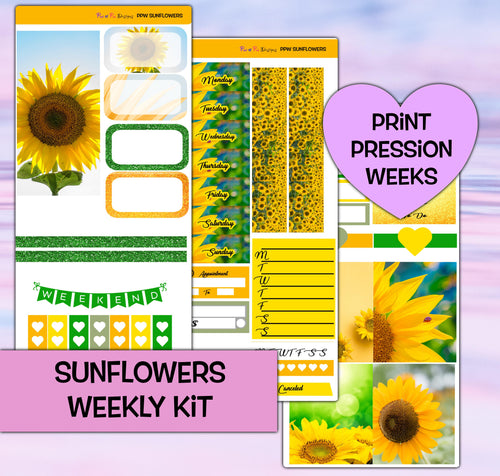 Sunflowers Planner Stickers | Print Pression Weeks | Weekly Kit