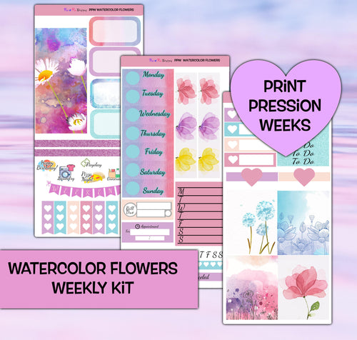 Watercolor Flowers Planner Stickers | Print Pression Weeks | Weekly Kit