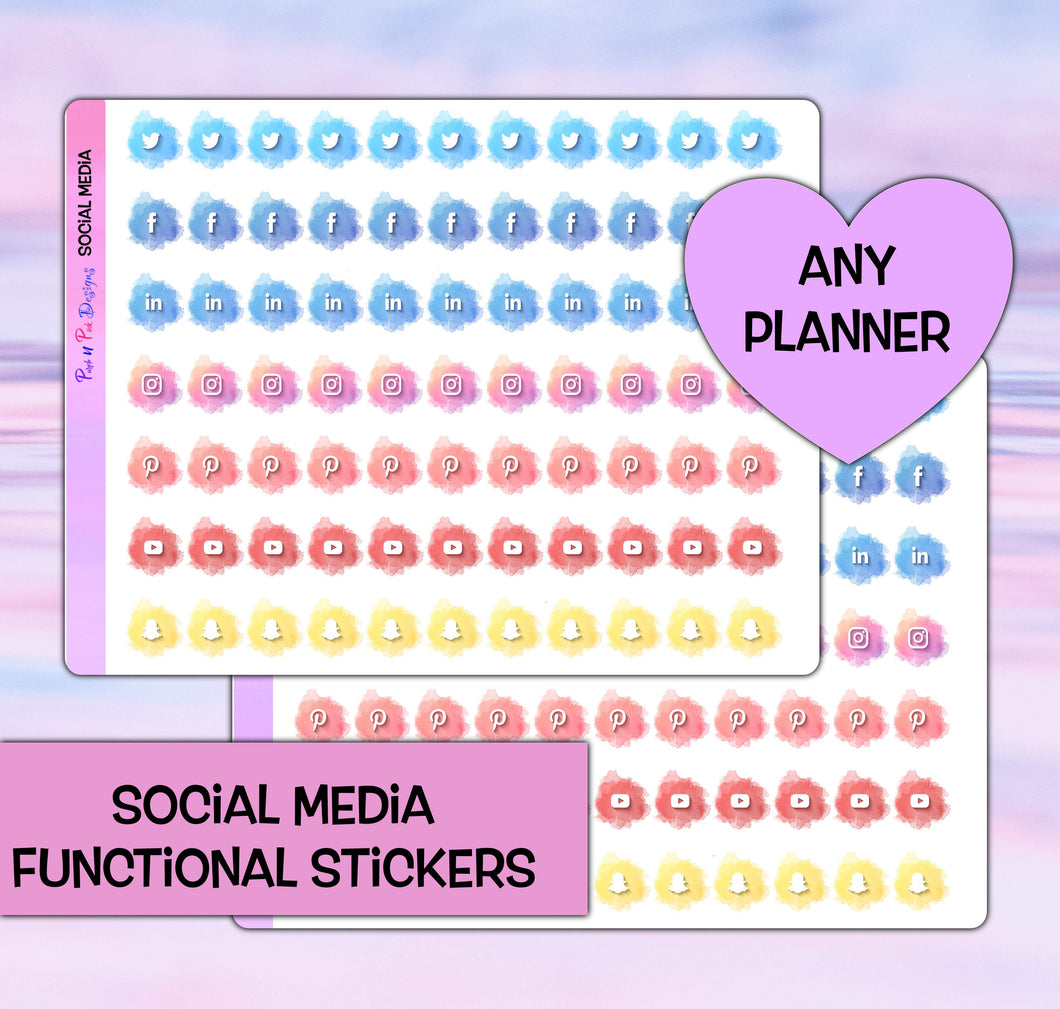 Social Media functional Planner stickers