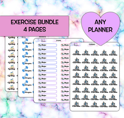 Exercise Planner stickers | fits any planner | Steps | Cardio | Cycling | Weights