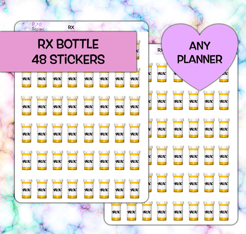 RX Pill Bottle Planner stickers| Any Planner