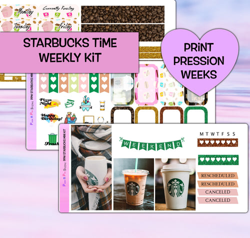 Starbucks Coffee Planner Stickers | Print Pression Weeks | Weekly Kit