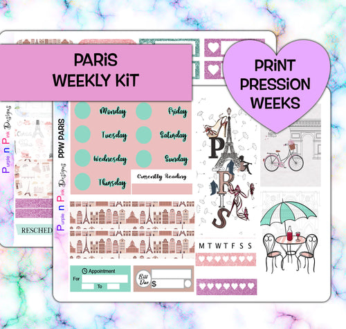 Paris Planner Stickers | Print Pression Weeks | Weekly Kit