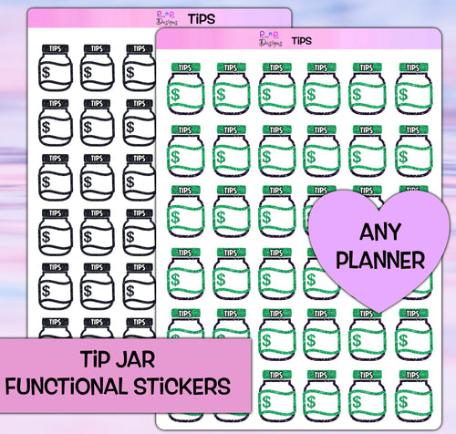 Tip Jar Planner stickers | fits any planner | Functional