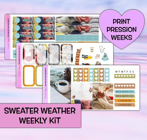 Sweater Weather Planner Stickers | Print Pression Weeks | Weekly Kit