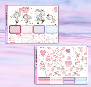 Valentine Girl Planner Stickers | Happy Planner | Weekly Kit
