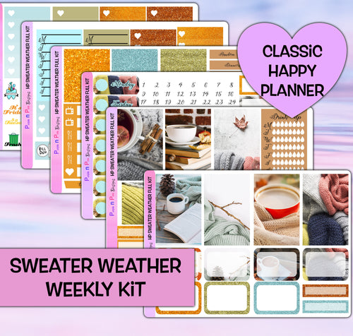 Sweater Weather Planner Stickers | Happy Planner | Weekly Kit