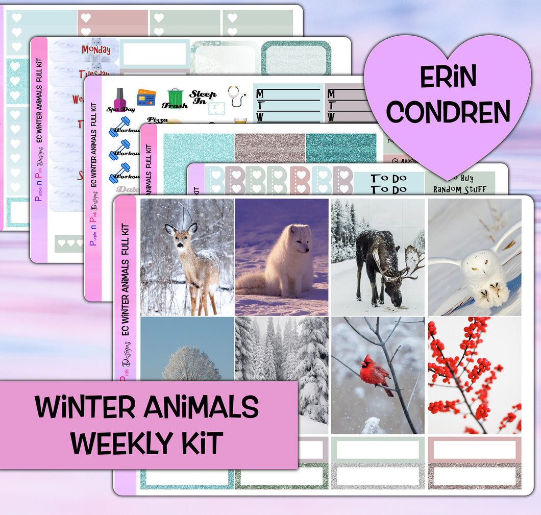 Winter Animals Planner Stickers | Erin Condren | Weekly Kit