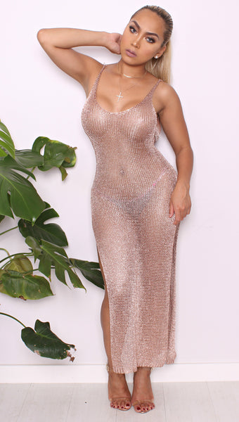 Fatima Rose Gold Knit Dress
