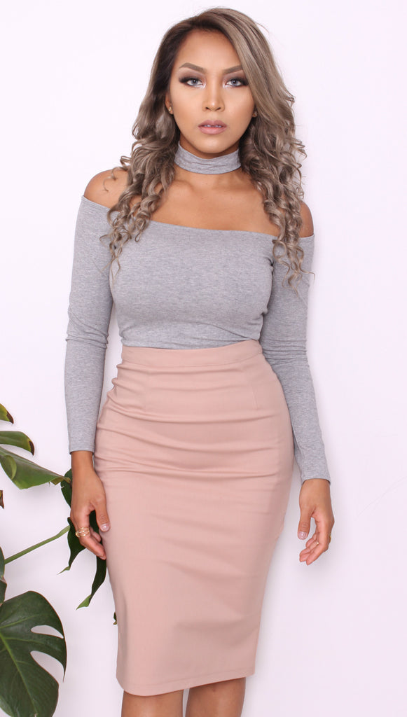 Vienna Gray Choker Crop Top