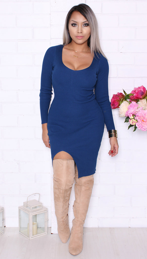 """Vivian"" Blue Longsleeve Dress"