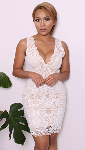 ohmagosh lace v-neck dress