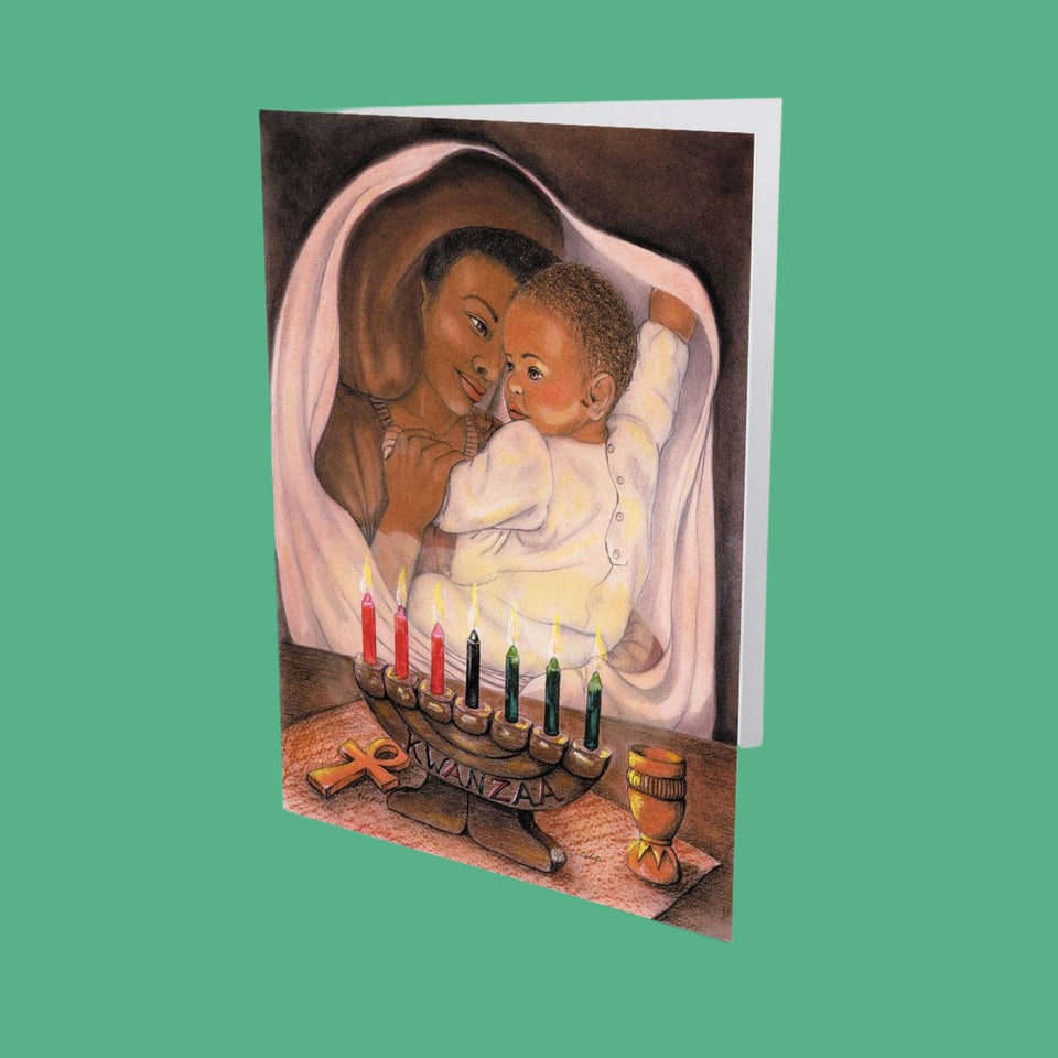 Greeting card with a woman holding a baby and a kinara lit with 7 with seven candles