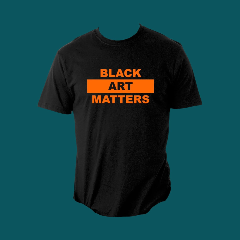 black t-shirt with black art matters text in orange