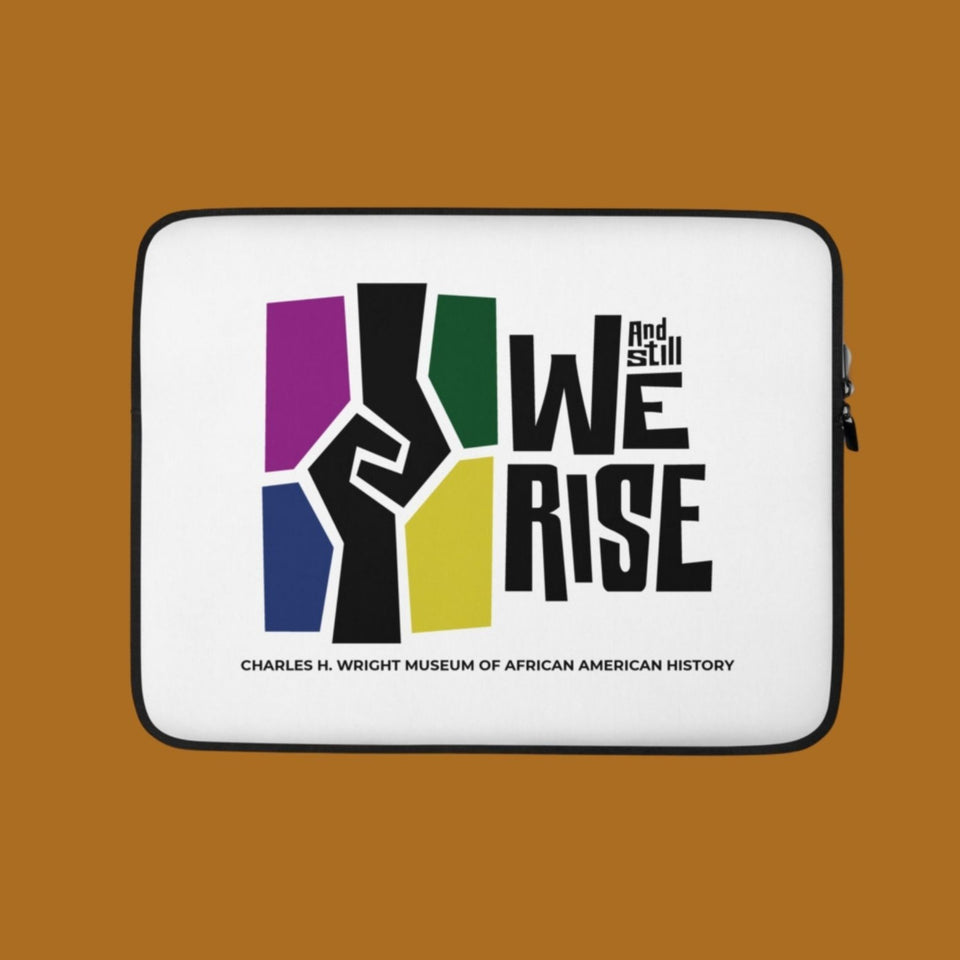 Computer laptop protective sleeve with the And Still We Rise exhibition logo on front