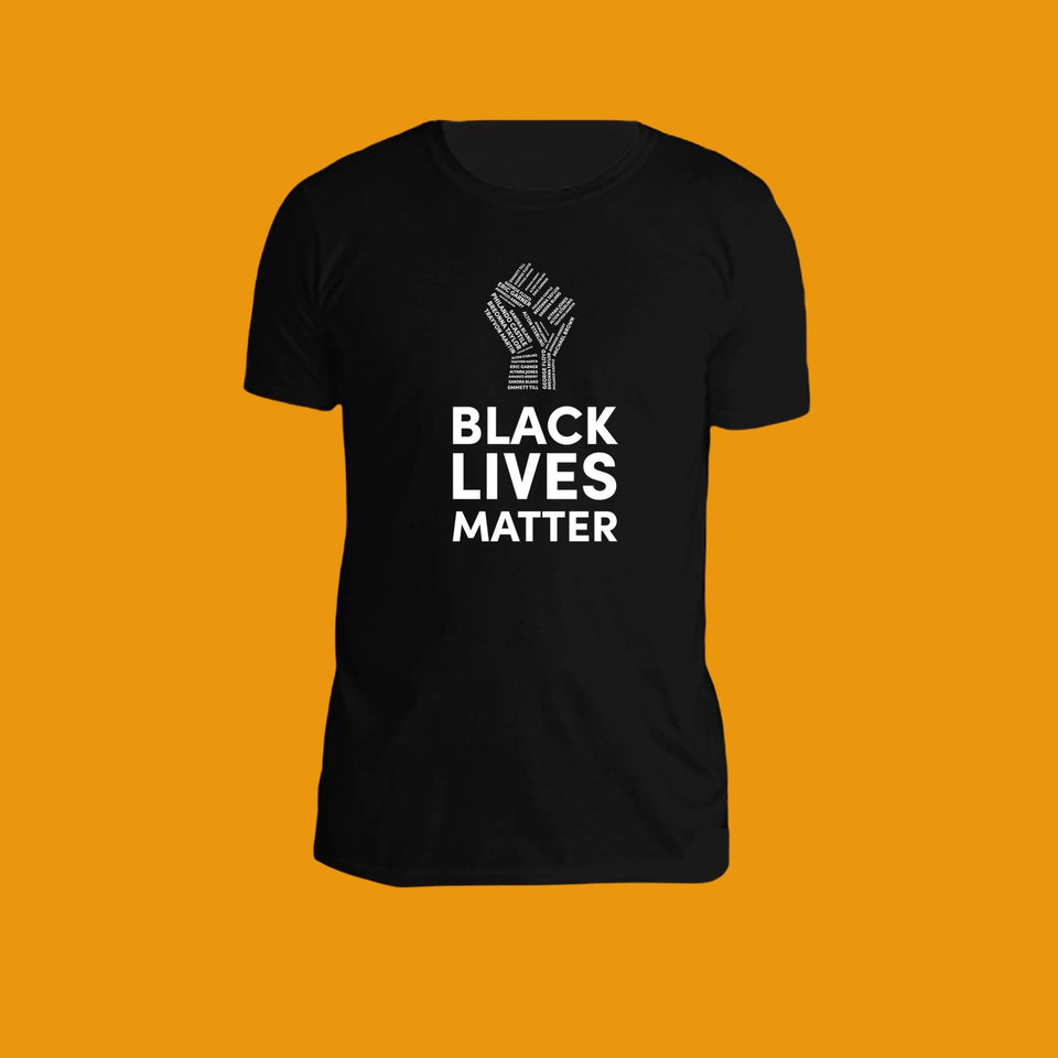 black cotton t-shirt with black lives matter and a fist printed in white on the front