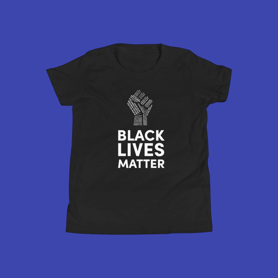 kid's black cotton t-shirt with black lives matter and a fist printed in white on the front