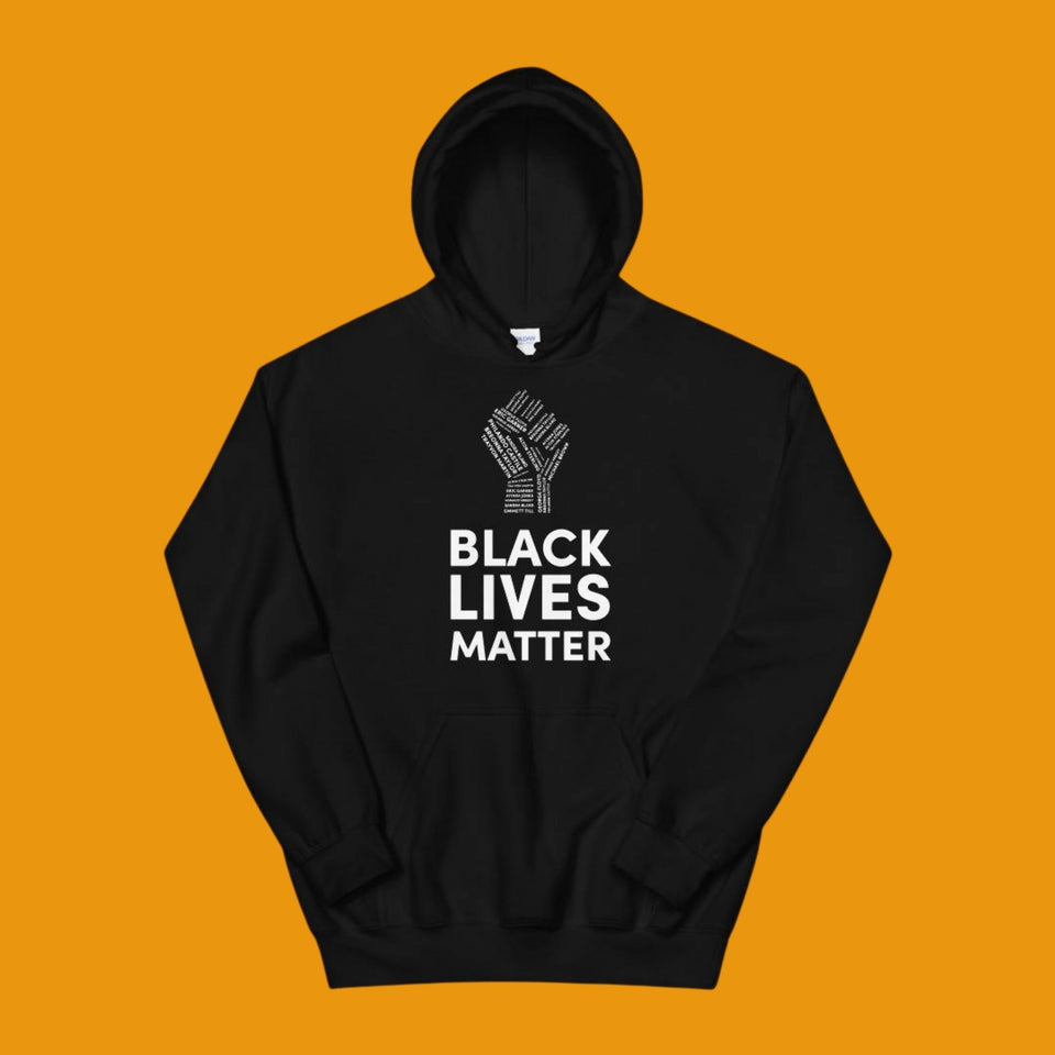 black hoodie with black lives matter in white with a white fist above