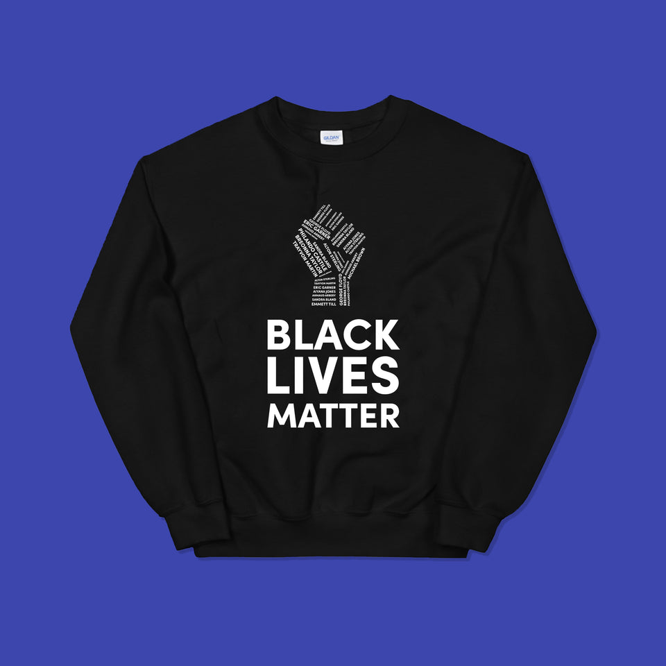 black sweatshirt with white black lives matter lettering, including image of a fist