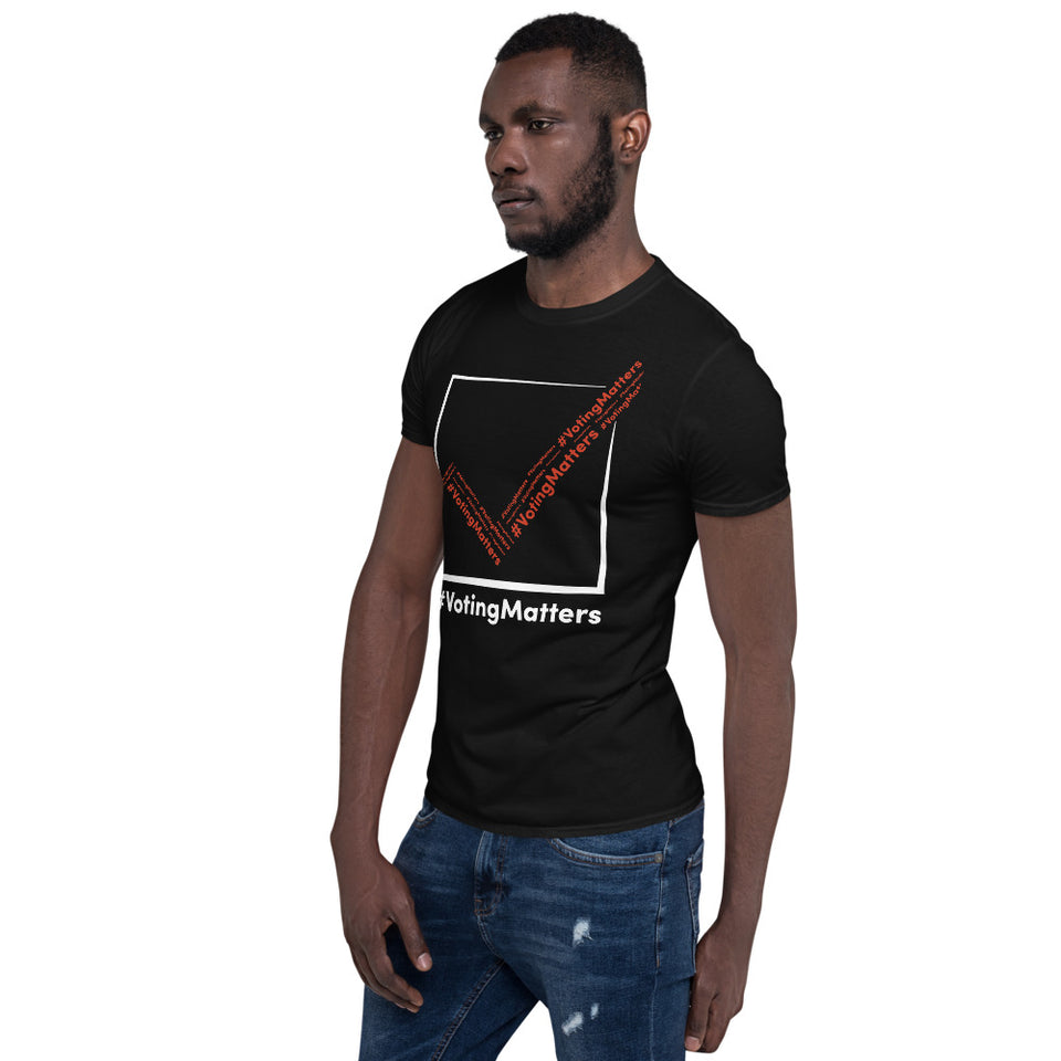 African American man wearing black cotton t-shirt with hashtag voting matters red, white checkmark logo