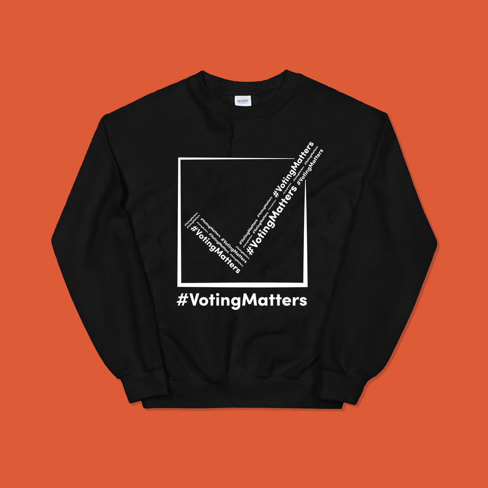 black sweatshirt with hashtag voting matters logo on it with white lettering