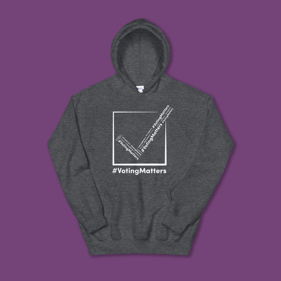heather grey hoodie with hashtag voting matters white checkmark logo