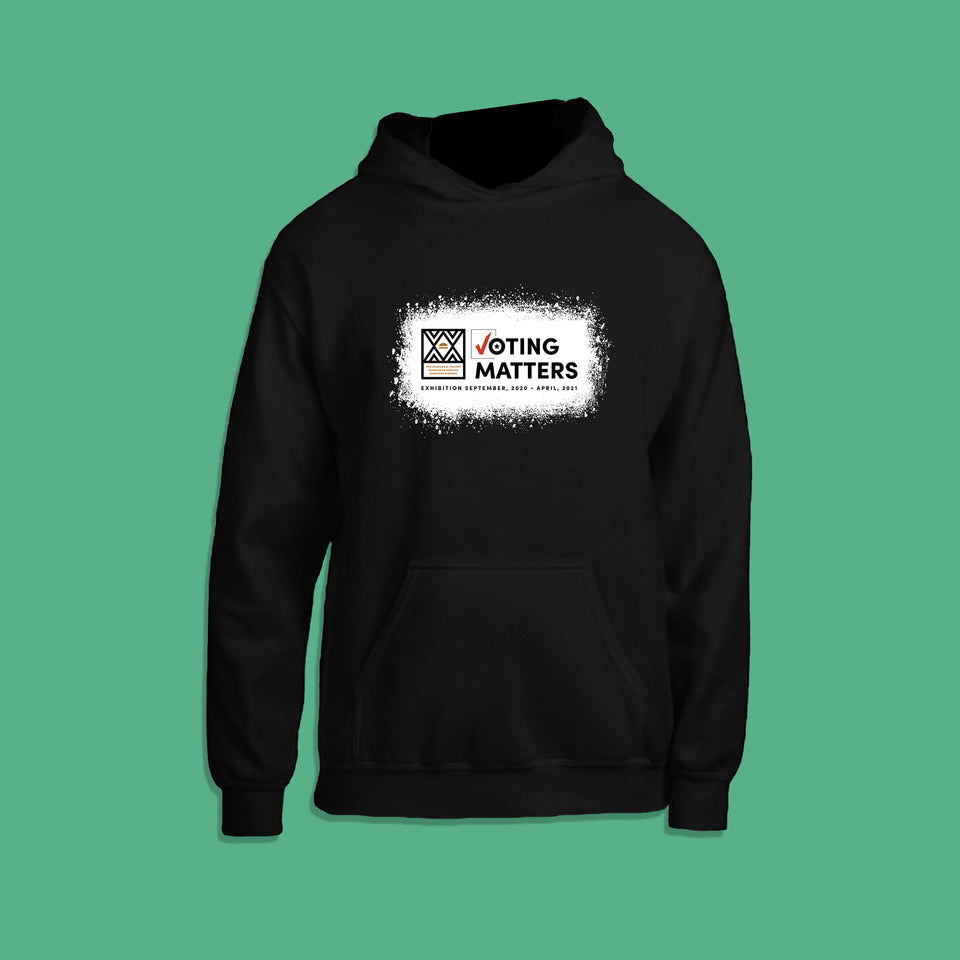 black hoodie with Wright Museum's Voting Matters exhibition logo on the front