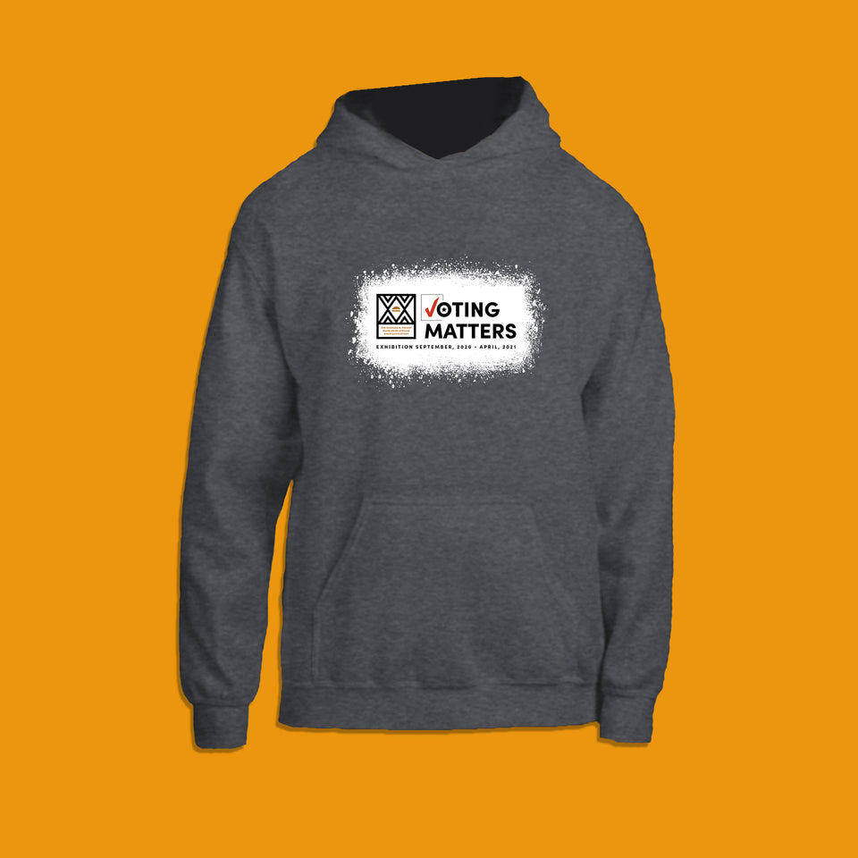 heather grey hoodie with Wright Museum's Voting Matters exhibition logo on the front