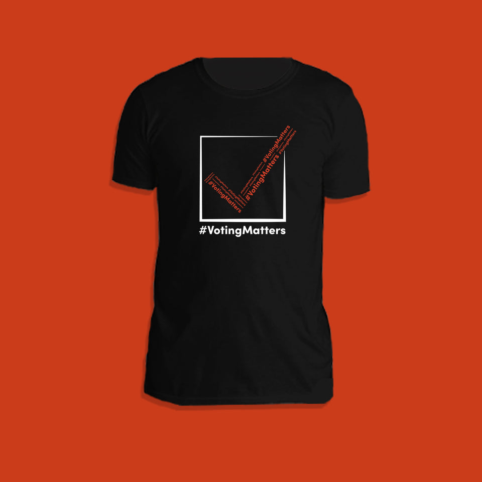 black cotton t-shirt with hashtag voting matters, red and white checkmark logo