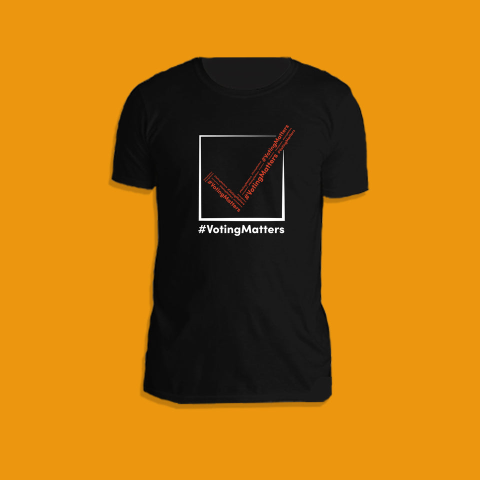black cotton t-shirt with hashtag voting matters red and white checkmark logo