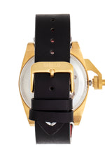 Shield Pascal Leather-Band Men's Diver Watch - Black/Gold