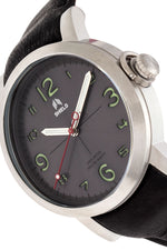 Shield Berge Leather-Band Men's Diver Watch - Silver/Grey