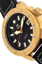 Shield Shaw Leather-Band Men's Diver Watch w/Date - Gold/Black