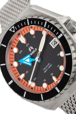 Shield Marius Bracelet Men's Diver Watch w/Date - Silver/Orange