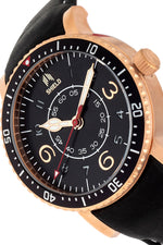 Shield Gilliam Leather-Band Men's Diver Watch - Rose Gold/Black