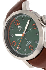 Shield Berge Leather-Band Men's Diver Watch - Silver/Green
