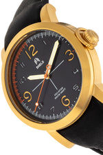 Shield Berge Leather-Band Men's Diver Watch - Gold/Black