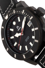 Shield Shaw Leather-Band Men's Diver Watch w/Date - Black