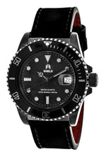 Shield Cousteau Leather-Band Pro-Diver Swiss Watch w/Date - Black