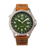 Shield Palau Leather-Band Men's Diver Watch w/Date - Silver/Green