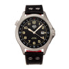 Shield Palau Leather-Band Men's Diver Watch w/Date - Silver/Black