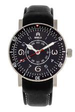 Shield Gilliam Leather-Band Men's Diver Watch - Silver/Black