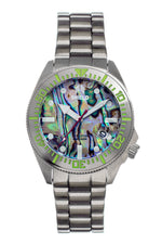 Shield Atlantis Abalone Bracelet Watch w/Date - Silver - SLDSH108-1