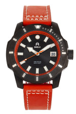 Shield Shaw Leather-Band Men's Diver Watch w/Date - Black/Orange
