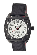 Shield Pilecki Leather-Band Swiss Mens Diver Watch - Black/White