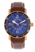 Shield Gilliam Leather-Band Men's Diver Watch - Rose Gold/Blue