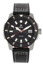 Shield Shaw Leather-Band Men's Diver Watch w/Date - Silver/Black